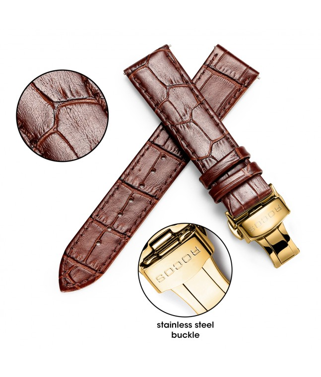 Men's Geniune Leather Calfskin Watch Band
